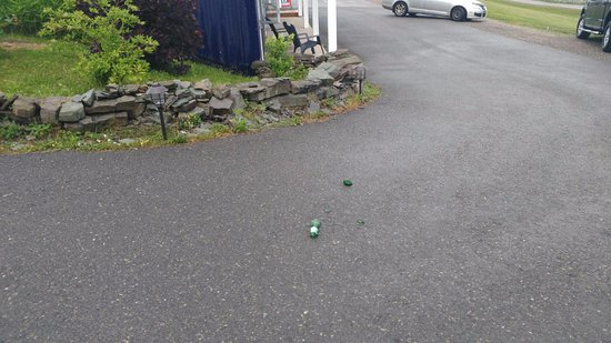 The Iona Heights Inn: Broken beer bottle in parking lot after loud night