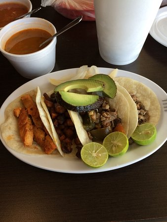 Apodaca, เม็กซิโก: My tacos, Pork, Beef, Skewered Beef and Chicken just as the were served to me.