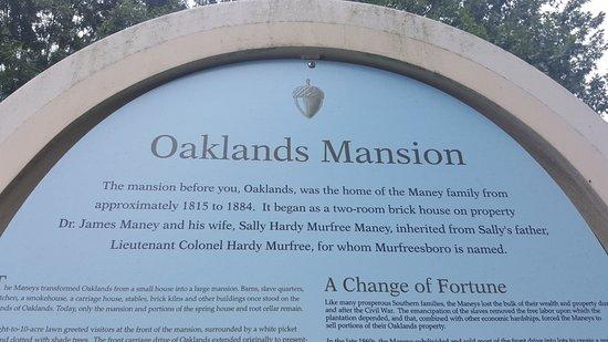 Murfreesboro, TN: Oaklands Mansion - the facts.