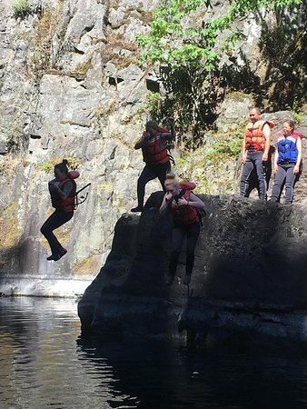 Destiny River Adventures: Jump from rocks at start of adventure. Seemed so high up at the time. Ha ha.