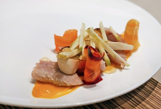 Sea trout, summer squash, carrot, apple