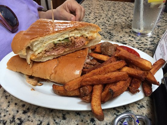 Milford, MA: Lunch with family.  Peanut butter ice cream cookie, steak tips, cubano , 1/2 lb house burger,  s