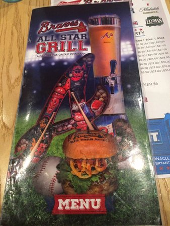 Menu Picture Of Braves All Star Grill Atlanta Tripadvisor