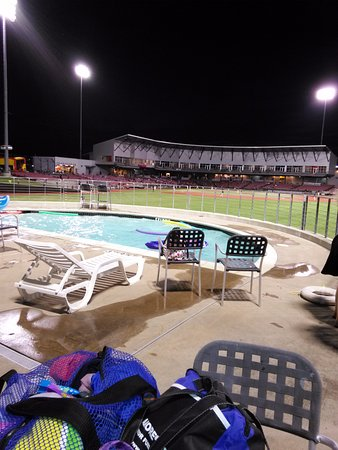 QuikTrip Park: From the pool deck at nightfall