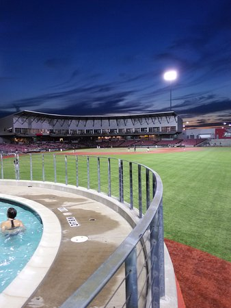 QuikTrip Park: From the pool deck at sunset