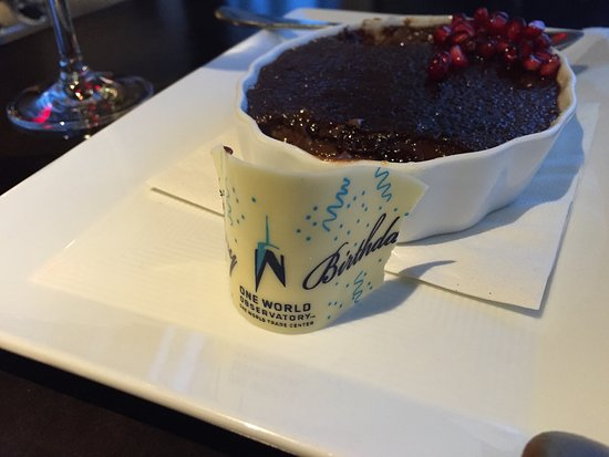 One Dine Birthday Gift Plus Granadine Topped Chocolate Creme Brulee
