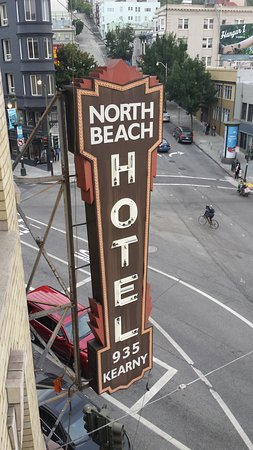 Hotel North Beach: View from fire escape of the Hotel sign