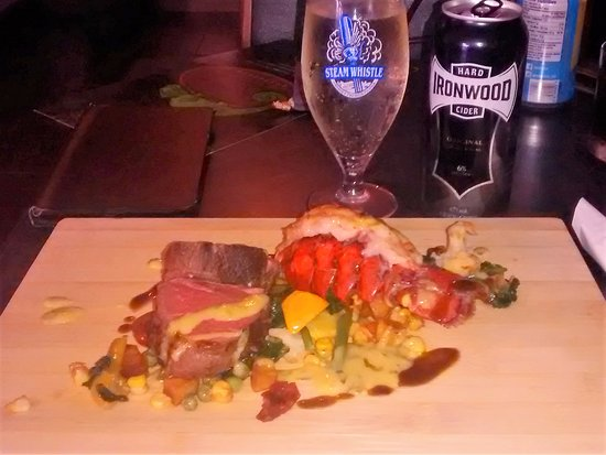Thorold, Canada: This weekend's Surf and Turf special.  Amazing Sous Vide steak and a lobster tail.