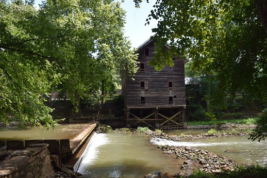 Childersburg, AL: Back of the mill showing the dam - notice the steel beams underneath that are being used.