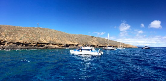 Maalaea, Havai: Partial view of Molokini Crater and the other boats around