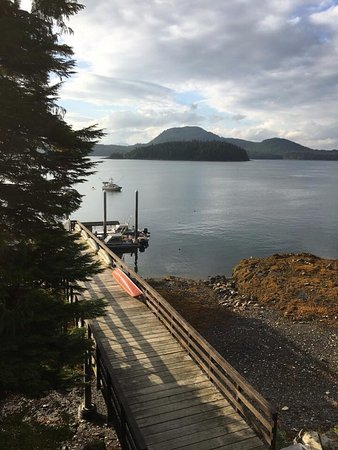 Chinook Shores Lodge: View from deck of Fishing and recreation based vacation rental property.