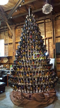 dunham cellars christmas tree made with upside down wine bottles
