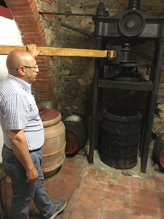 Asciano, Italia: Roberto at one of the wineries and discussing the wine making process.