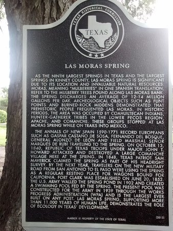 Brackettville, Техас: Historic Marker for Las Moras Springs