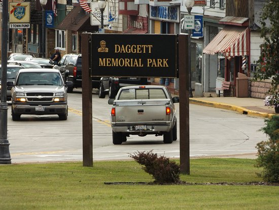 The sign for Daggett Memorial Park on Highway 23, the main road through Montello