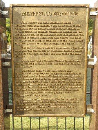 Montello, WI: The granite quarry historical marker at Daggett Memorial Park