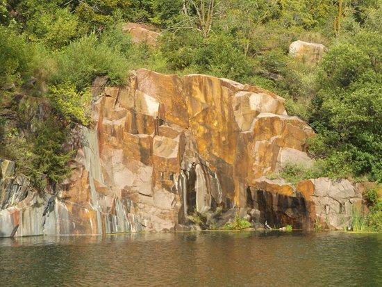 Colorful granite at Daggett Memorial Park in Montello