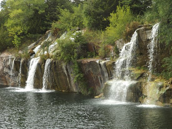 Two waterfalls at Daggett Memorial Park in Montello