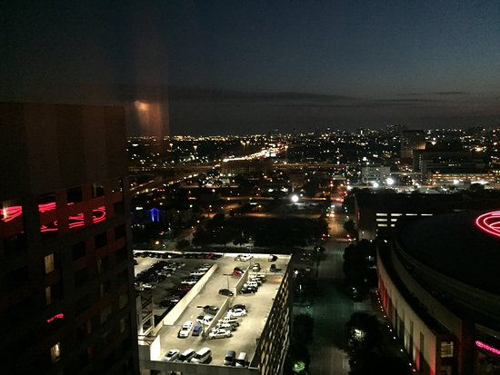 Hilton Americas - Houston: View outside our room. When nights were clear the lights seemed to sparkle.