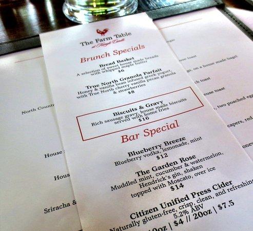 Bernardston, Μασαχουσέτη: Specials for brunch