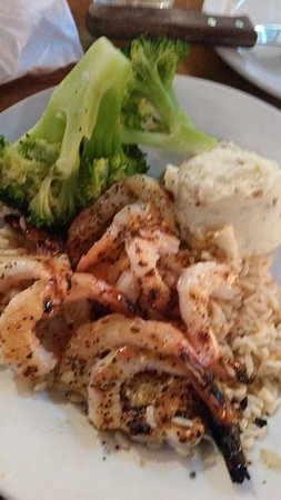 Burleson, TX: Grilled shrimp with broccoli and mash potato