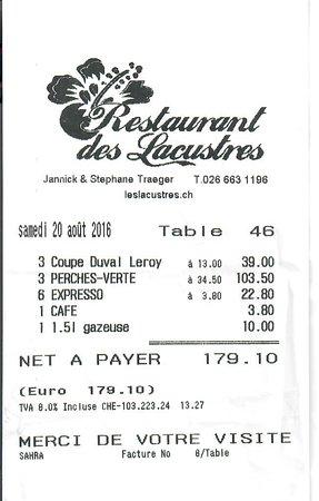 Estavayer-le-Lac, สวิตเซอร์แลนด์: Montant inversément proportionel à la qualité et quantité de ce que nous avons consommé