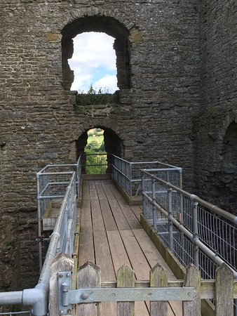 Clun, UK: A scaffold bridge leads to a lookout