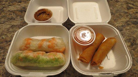 Yukon, OK: Shrimp roll and fried spring roll