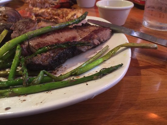 Southgate, MI: My burnt steak and yellow green asparagus