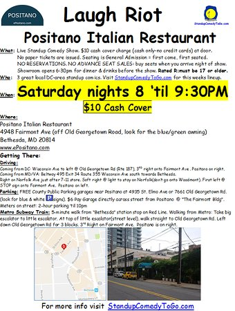 Live Standup Comedy-Saturday Nights in Bethesda,MD