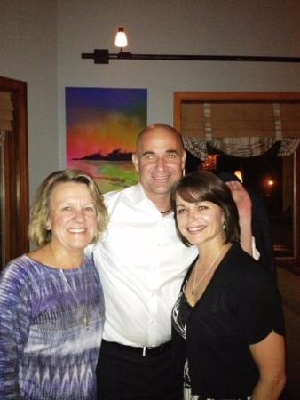 Ponte Vedra Beach, FL: april hart, debbie verges and andre agassi