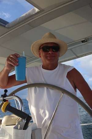 Christiansted, St. Croix: At the helm enjoying Martha's Rum Punch...