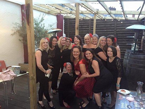 Bar 44 Penarth courtyard for our hen do masterclass!