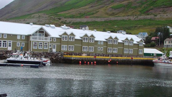 Siglufjordur, Island: View of hotel. Our room was on 2d floor to right of center.