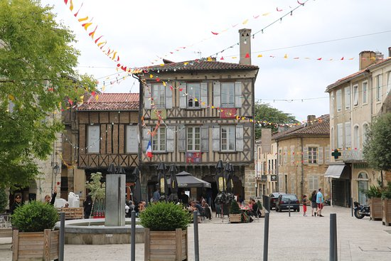 View of the Cafe de France from across the Eauze main square