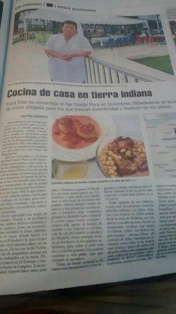 Colombres, สเปน: Página en un periódico regional, LA NUEVA ESPAÑA