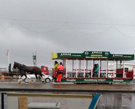 Horse drawn Trams on the Promenade, Douglas.