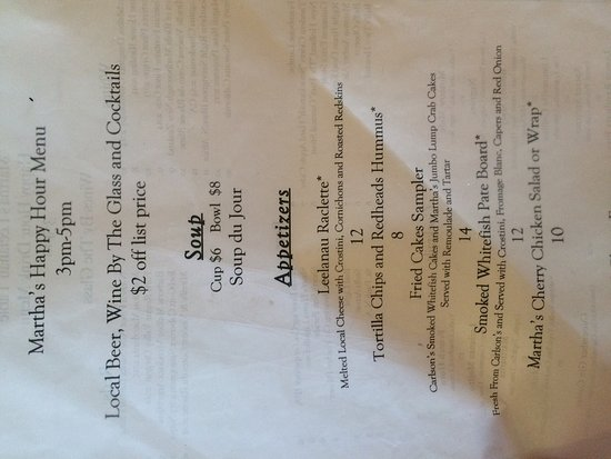 Suttons Bay, MI: Happy hour menu
