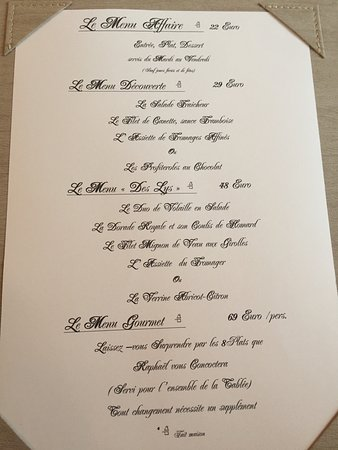 Le Trianon: The set menus