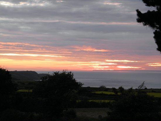 St. Mary, UK: coucher du soleil vu de la terrase