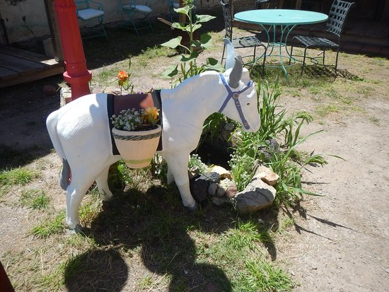 Carrizozo, Nowy Meksyk: Outdoor patio; one of the painted burros the town is known for.