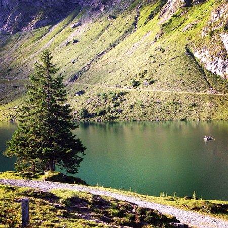 Oberrickenbach, Svizzera: Bannalpsee direkt vor dem Berggasthaus - Blick von der Restaurant-Terrasse