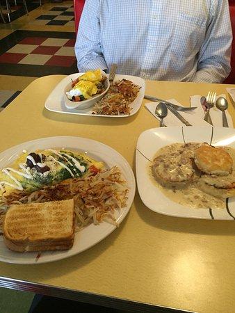 Poulsbo, WA: Salmon Benedict, Mediterranean Omelet, Biscuits & Gravy