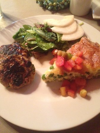The Lancaster Bed and Breakfast: Quiche, pear salad, and chicken sausage