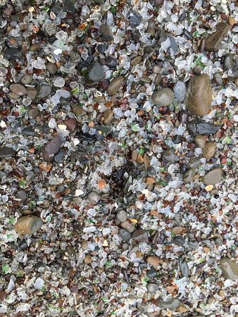 Glass Beach: Small pieces of glass left.