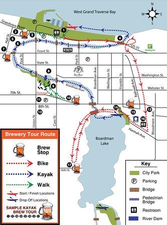 Traverse City Breweries Map Kayak Brewery Tour Map   Picture of Kayak Brewery Tours, Traverse