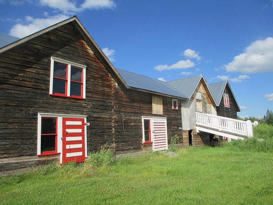 Seitaniemi homestead, Embarrass MN. Unique 3-peaked Finnish home and conjoined barns.