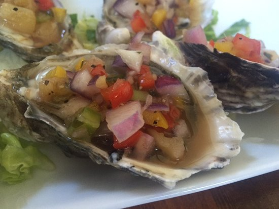 Oysters on the half shell, Mexican style, Fanny Bay Inn 7480 Island Hwy S, Fanny Bay, British Co