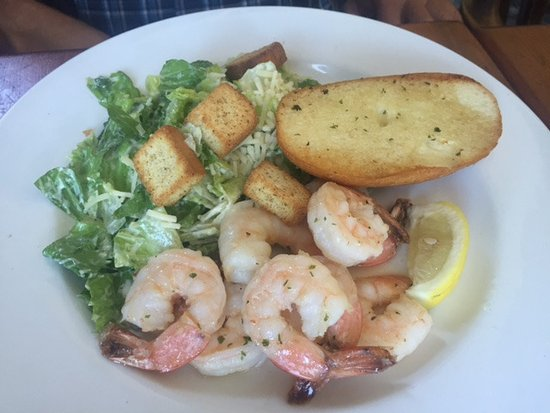 Garlic prawns with Ceasar Salad, Fanny Bay Inn 7480 Island Hwy S, Fanny Bay, British Columbia
