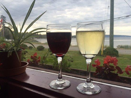 One red wine, one white wine, balance Henry's Kitchen, Qualicum Beach, BC